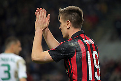 March 2, 2019 - Milan, Milan, Italy - Krzysztof Piatek #19 of AC Milan during the serie A match between AC Milan and US Sassuolo at Stadio Giuseppe Meazza on March 02, 2019 in Milan, Italy. (Credit Image: © Giuseppe Cottini/NurPhoto via ZUMA Press)