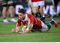 22 June 2013; Alex Cuthbert, British & Irish Lions, goes over to score his side's second try. British & Irish Lions Tour 2013, 1st Test, Australia v British & Irish Lions, Suncorp Stadium, Brisbane, Queensland, Australia. Picture credit: Stephen McCarthy / SPORTSFILE