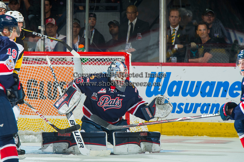 REGINA, SK - MAY 25: Max Paddock #33 of Regina Pats defends the net against the Hamilton Bulldogs at the Brandt Centre on May 25, 2018 in Regina, Canada. (Photo by Marissa Baecker/CHL Images)