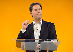 © Licensed to London News Pictures. 08/03/2013. Brighton, UK. Leader of the Liberal democrats and Deputy Prime Minister Nick Clegg talks to delegates on International Women's Day at the Party Rally Liberal Democrat Spring Conference in Brighton today 8th March 2013. Photo credit : Stephen Simpson/LNP