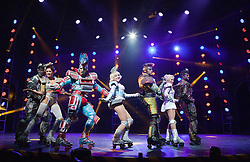 "© Licensed to London News Pictures. 11/05/2012. London, England. Andrew Lloyd Webber's rock musical ""Starlight Express"" opens at the New Wimbledon Theatre with a new cast before embarking on a UK tour. Choreography by Arlene Phillips. With Kristofer Harding as Rusty, Mykal Rand as Electra, Lothair Eaton as Poppa, Amanda Coutts as Pearl, Ruthie Stephens as Dinah, Kelsey Cobban as Duffy, Camilla Hardy as Buffy and Jamie Capewell as Greaseball. Photo credit: Bettina Strenske/LNP"