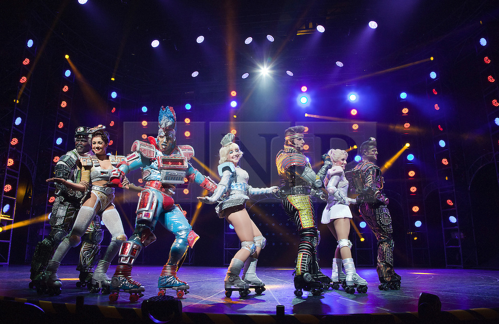 """© Licensed to London News Pictures. 11/05/2012. London, England. Andrew Lloyd Webber's rock musical """"Starlight Express"""" opens at the New Wimbledon Theatre with a new cast before embarking on a UK tour. Choreography by Arlene Phillips. With Kristofer Harding as Rusty, Mykal Rand as Electra, Lothair Eaton as Poppa, Amanda Coutts as Pearl, Ruthie Stephens as Dinah, Kelsey Cobban as Duffy, Camilla Hardy as Buffy and Jamie Capewell as Greaseball. Photo credit: Bettina Strenske/LNP"""
