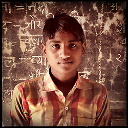 "iPhone portrait of Laalu Ram Ninama, 13.  ""When the talks of my marriage began, I was 11 years old. I did not want to get married.  Children would be born, my life would be ruined. There is so much that I have not done yet! "" Under Indian law, children younger than 18 cannot marry. Yet in a number of India's states, at least half of all girls are married before they turn 18, according to statistics gathered in 2012 by the United Nations Population Fund (UNFPA). However, young girls in the Indian state of Rajasthan—and even a few boys—are getting some help in combatting child marriage. In villages throughout Tonk, Jaipur and Banswara districts, the Center for Unfolding Learning Potential, or CULP, uses its Pehchan Project to reach out to girls, generally between the ages of 9 and 14, who either left school early or never went at all. The education and confidence-building CULP offers have empowered youngsters to refuse forced marriages in favor of continuing their studies, and the nongovernmental organization has provided them with resources and advocates in their fight."