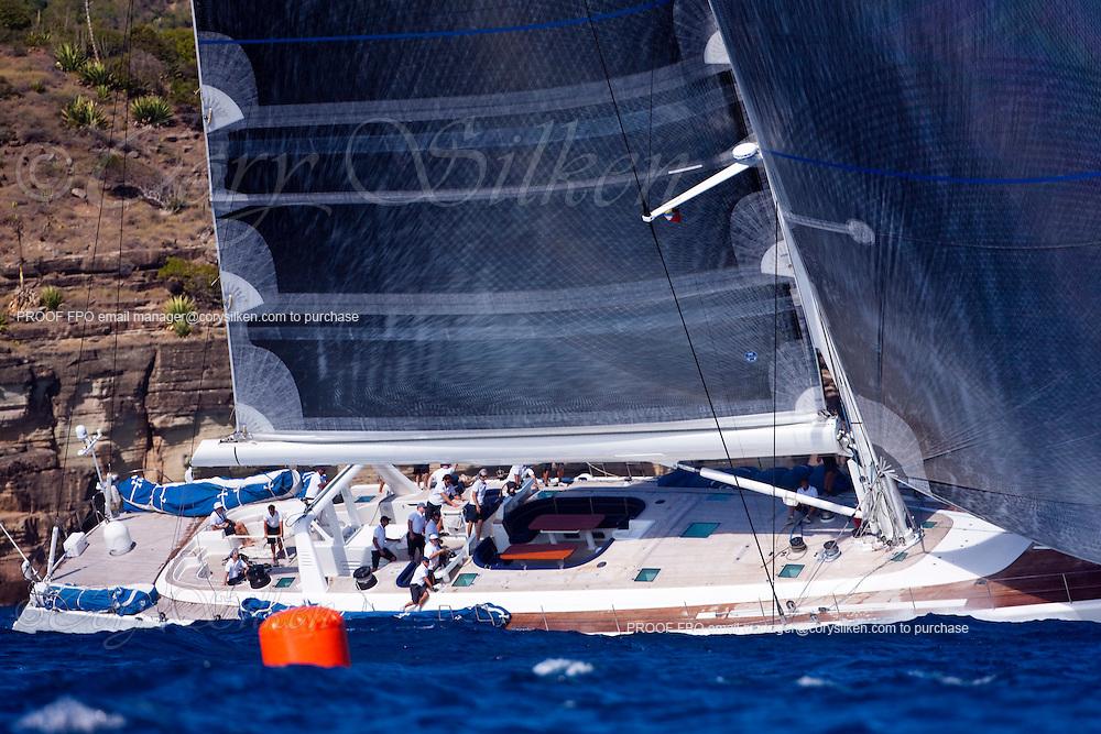 Visione sailing in The Superyacht Cup regatta, Antigua 2010, race one.