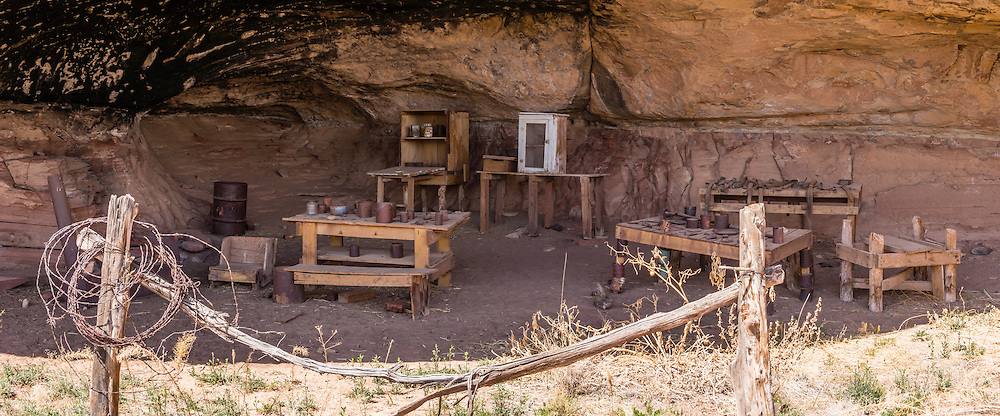 Historic Cowboy Camp, Cave Spring Trail, Needles District of Canyonlands National Park, Utah, USA. This panorama was stitched from 2 overlapping photos.