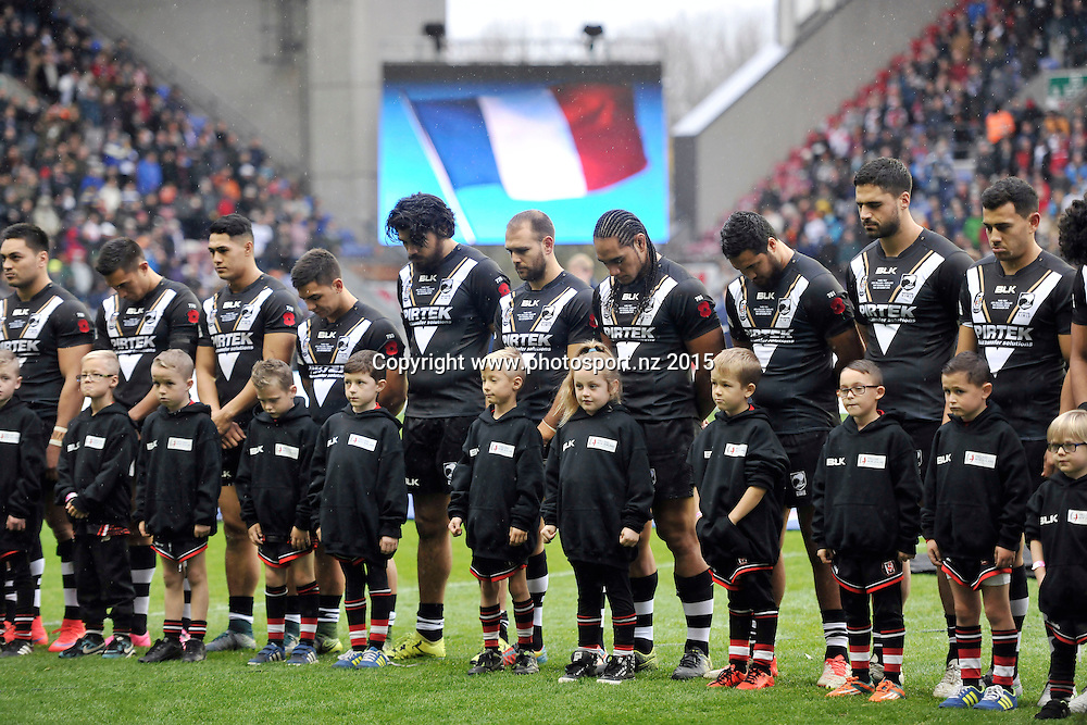 14/11/2015 - Rugby League - England v New Zealand, Third Test - DW Stadium, Wigan, England - Minutes silence for Paris shootings<br /> New Zealand Kiwis and French Flag trip colour<br /> Copyright photo: Alex Whitehead / www.photosport.nz