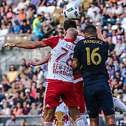 New York Red Bulls Defender AURÉLIEN COLLIN (78) and Philadelphia Union Defender RICHIE MARQUEZ (16) go for the ball in the first half of a Major League Soccer match between the Philadelphia Union and New York Red Bulls Sunday, July. 17, 2016 at Talen Energy Stadium in Chester, PA.