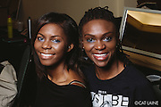PROVIDENCE, RI - FEB 13: Muhsinah Muhammad and Vonetta Cabral pose backstage prior to the Stetkewicz show as part of StyleWeek NorthEast on February 13, 2015 in Providence, Rhode Island. (Photo by Cat Laine)