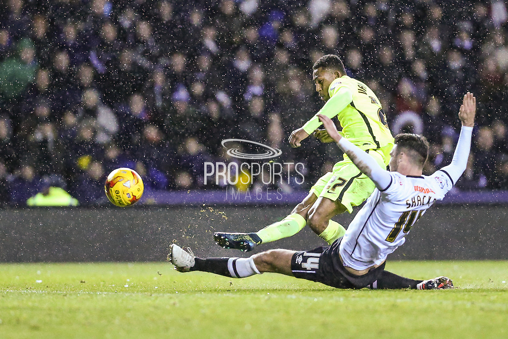 Brighton's Rajiv van La Parra scores his teams 2nd goal during the Sky Bet Championship match between Derby County and Brighton and Hove Albion at the iPro Stadium, Derby, England on 12 December 2015. Photo by Shane Healey.