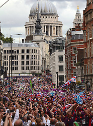 A victory parade of hundreds of British Olympic and Paralympic athletes making its way through central London past Fleet Street September 10th 2012. Photo by Andre Camara/i-Images.