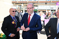 &copy; Licensed to London News Pictures. 07/06/2017<br /> Paul Nuttall buying a bag of white seedless grapes on walk about with PETER WHITTLE UKIP Candidate for South Basildon and East Thurrock.<br /> UKIP Leader Paul Nuttall in Corrington,Essex this afternoon on a walkabout on the last day of the election campaign for 2017.<br /> Photo credit: Grant Falvey/LNP