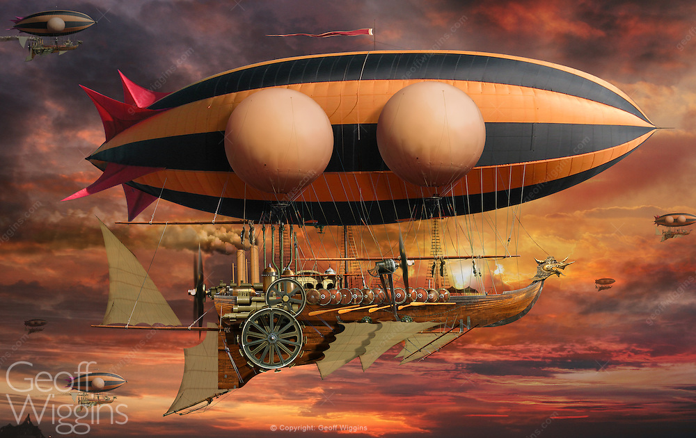 Steam powered dragon airship in the Steampunk genre incorporating technology and aesthetic designs inspired by 19th-century industrial steam-powered machinery