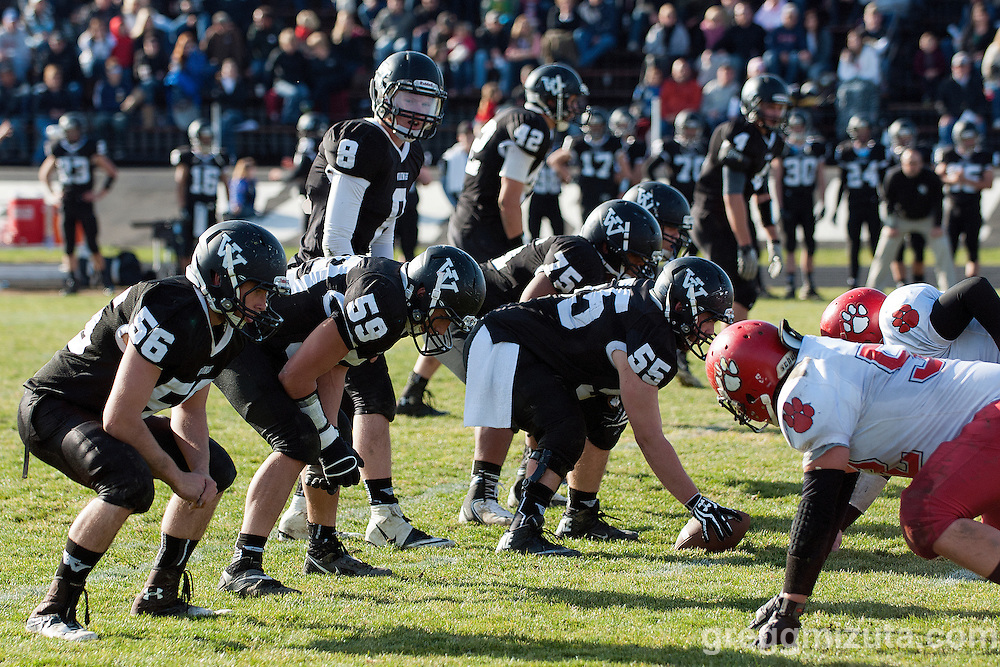 Vale's offense (L to R: Keaton Kimball, Garret DeVos, Josh Schoorl, Tyson Aldred, Kye Yraguen) lines up against  Clatskanie, November 9, 2013 at Frank Hawley Stadium Vale High School, Vale, Oregon. Vale won 46-0.