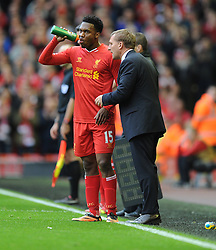 Liverpool's Daniel Sturridge talks with Liverpool Manager, Brendan Rodgers in the second half. - Photo mandatory by-line: Alex James/JMP - Tel: Mobile: 07966 386802 26/10/2013 - SPORT - FOOTBALL - Anfield Stadium - Liverpool - Liverpool v West Brom - Barclays Premier League