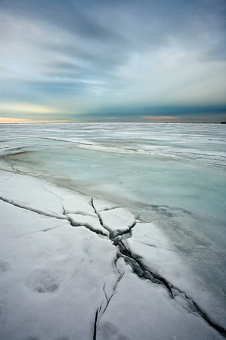 Patterns Cracks and Textures on the surface of frozen Lake Ontario,  Canada