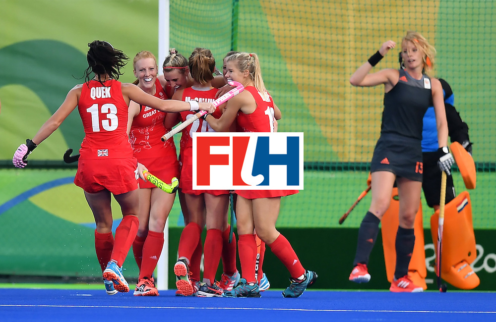 Britain's players celebrate a goal during the women's Gold medal hockey Netherlands vs Britain match of the Rio 2016 Olympics Games at the Olympic Hockey Centre in Rio de Janeiro on August 19, 2016. / AFP / MANAN VATSYAYANA        (Photo credit should read MANAN VATSYAYANA/AFP/Getty Images)