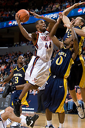 Virginia guard Sean Singletary (44) shoots over Drexel guard Tramayne Hawthorne (0) and forward Evan Neisler (33).  The #23 Virginia Cavaliers men's basketball team faced the Drexel Dragons  at the John Paul Jones Arena in Charlottesville, VA on November 20, 2007.