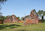 Supported remains of a building near Hien Lam pavilion likely destroyed during the Battle of Hu?,1968  Hue Citadel / Imperial City, Hue, Vietnam