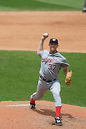 Stephen Strasburg of the Washington Nationals delivers against the Cleveland Indians on June 13, 2010 at Progressive Field in Cleveland.