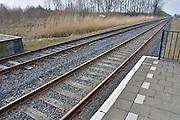 Nederland, Andelst,, 1-4-2013Spoor aan het station en perron van Andelst-Zetten. Op dit traject in de betuwe rijdt vervoerder Arriva.Spoorrails, spoorlijn, treinrails, infrastructuur, openbaar vervoer.Foto: Flip Franssen/Hollandse Hoogte