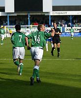 Photo: Andrew Unwin.<br />Northern Ireland v Azerbaijan. FIFA World Cup Qualifying match. 03/09/2005.<br />Northern Ireland's Warren Feeney (#14) celebrates after scoring his team's second goal.