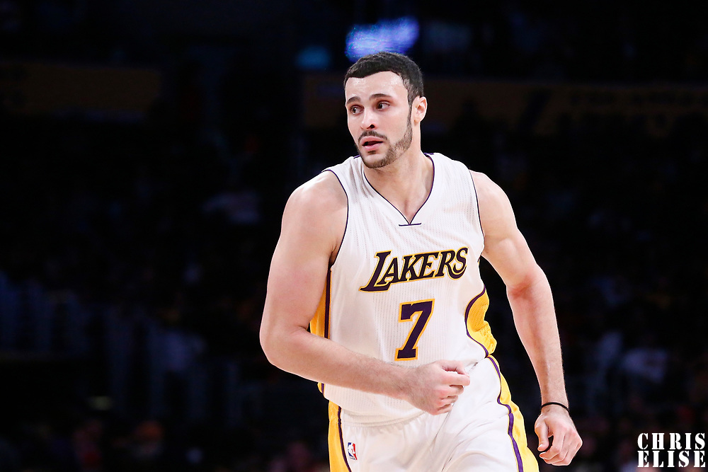 26 March 2016: Los Angeles Lakers forward Larry Nance Jr. (7) is seen during the Portland Trail Blazers 97-81 victory over the Los Angeles Lakers, at the Staples Center, Los Angeles, California, USA.