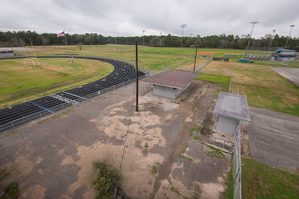 View showing layout of proposed softball field (upper left) to baseball field and football stadium at North Forest High School, February 23, 2015.