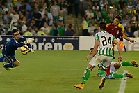 shot on goal that fails to stop Sotres (L) but goes out during the match between Real Betis and Recreativo de Huelva day 10 of the spanish Adelante League 2014-2015 014-2015 played at the Benito Villamarin stadium of Seville. (PHOTO: CARLOS BOUZA / BOUZA PRESS / ALTER PHOTOS)
