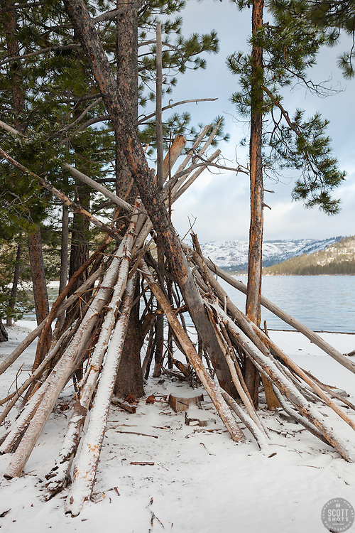 """Teepee at Donner Lake"" - Photographed at the East shore of Donner Lake in the morning, right after a Spring snow shower."