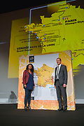 French Sports minister Laura Flessel with Christian PRUDHOMME (FRA) TDF Director during the presentation of the 105th Tour de France 2018 on October 17, 2017 at Le Palais des Congres in Paris, France - Photo I-HARIS / ProSportsImages / DPPI