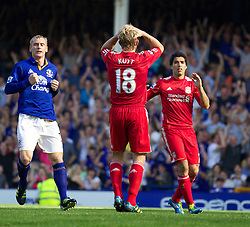 LIVERPOOL, ENGLAND - Saturday, October 1, 2011: Liverpool's Dirk Kuyt looks dejected after missing a penalty kick against Everton during the Premiership match at Goodison Park. (Pic by Vegard Grott/Propaganda)