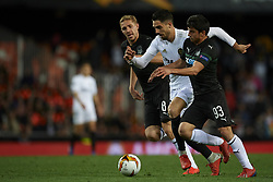 March 7, 2019 - Valencia, Valencia, Spain - Ruben Sobrino of Valencia and Magomed Suleymanov and Yuri Gazinski of Krasnodar competes for the ball during the UEFA Europa League Round of 16 First Leg match between Valencia v Krasnodar  at Estadi de Mestalla on March 7, 2019 in Valencia, Spain. (Credit Image: © Jose Breton/NurPhoto via ZUMA Press)