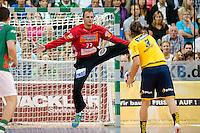 Bastian Rutschmann (FAG) im Tor bei einem Siebenmeter gehen Uwe Gensheimer (RNL)
