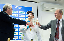 Press conference of Filip Flisar of Slovenia after winning gold at World Championship in Ski cross 2015 in Kreischberg (at picture with Branko Krasovec and Jurij Zurej of SZS), on January 27, 2015 in SZS, Ljubljana, Slovenia. Photo by Vid Ponikvar / Sportida