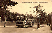 Tramcar at Blackpool, Lancashire, England, taking holidaymakers on a circular tour of the town. From the 1870s Blackpool was a seaside holiday destination for factory workers, and from the 1890s it became a centre of mass entertainment. Photographic postcard c1910.