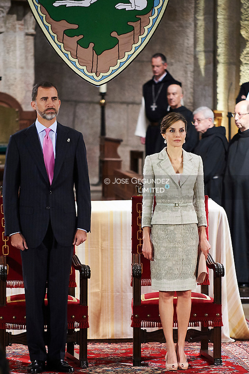 King Felipe VI of Spain and Queen Letizia of Spain attend the 'Principe de Viana' 2015 award and Tribute to the Navarra Old Royals at San Salvador de Leyre Monastery on June 10, 2015 in Navarra, Spain.