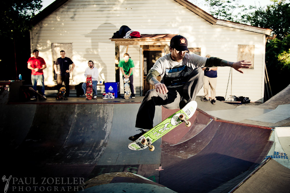 A backyard transformed into a skate park in downtown Charleston.