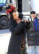 Rihanna filming Ocean's Eight'  In New York<br /> <br /> Actress and singer Rihanna borrows a photographer's camera on the set of the new movie 'Ocean's Eight' on November 22 2016 in New York City<br /> ©Exclusivepix Media