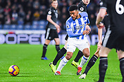 Elias Kachunga of Huddersfield Town (9) in action during the Premier League match between Huddersfield Town and Burnley at the John Smiths Stadium, Huddersfield, England on 2 January 2019.