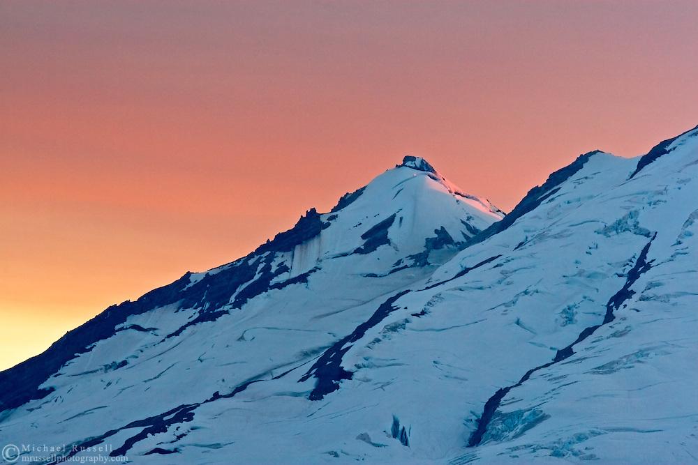 Sunset behind Sherman Peak on Mount Baker from Artist Point.