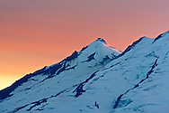 Sunset behind Sherman Peak on Mount Baker from Artist Point.