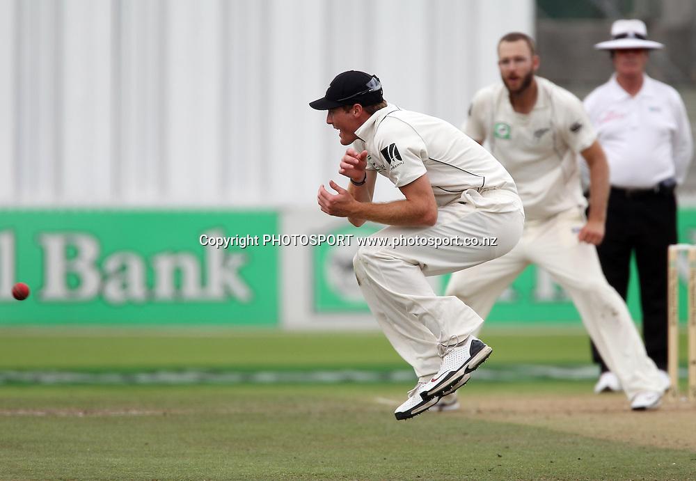 New Zealand's Martin Guptill takes evasive action fielding.<br />Day 3. Test match cricket. One off test.<br />New Zealand Black Caps versus Bangladesh.<br />Seddon Park, Hamilton, New Zealand.<br />Tuesday 17 February 2010.<br />Photo: Andrew Cornaga/PHOTOSPORT