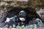 Cavern formed by volcanic lava tunnel, Jameos de Agua, Lanzarote, Canary Islands, Spain