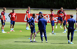England manager Gareth Southgate (left of centre) during the training session at Stade Omnisport.