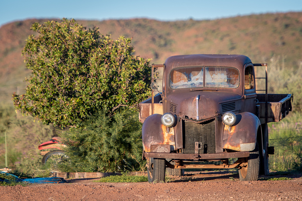 Old fashioned pick up truck model on the Dabis Guest Farm, located in the village of Helmeringhausen, southern Namibia, Africa.