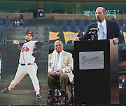ATLANTA, GA - JUNE 08:  Former Atlanta Braves pitcher John Smoltz speaks to the crowd while former manager Bobby Cox #6 looks on during his #29 retirement ceremony and before the game between the Atlanta Braves and the Toronto Blue Jays at Turner Field on June 8, 2012 in Atlanta, Georgia.  (Photo by Mike Zarrilli/Getty Images)