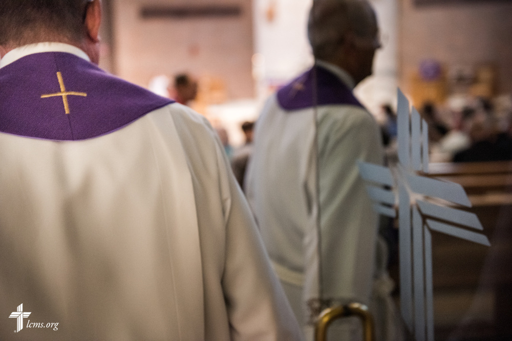 The Rev. Brian Roberts (left), associate pastor, and the Rev. Wally Arp, senior pastor, process into the sanctuary for worship St. Luke's Lutheran Church on Sunday, March 6, 2016, in Oviedo, Fla. LCMS Communications/Erik M. Lunsford