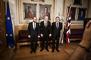 Nobel Peace Prize winner Martin Schulz  and Jose Manuel Barrosa meets the press at the Norwegian Parliament along with president of the storting Dag Terje Andersen.