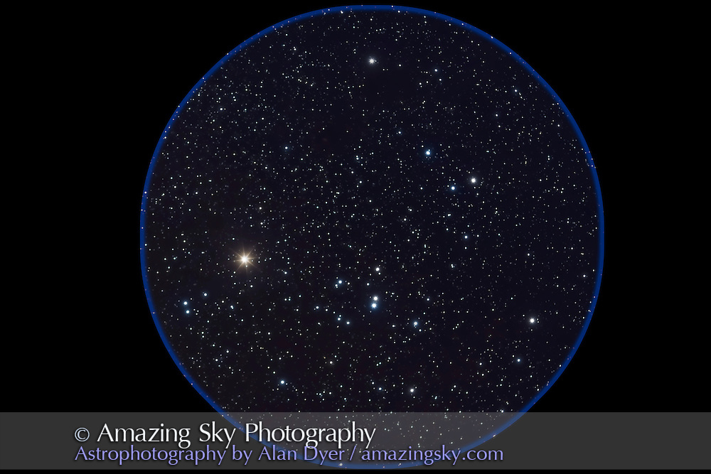 Hyades star cluster in Taurus - with Canon 20Da and 135mm Canon L-series telephoto at f/2.8 for stack of 4 x 4 minute exposures at ISO 400. NGC 1647 at upper left. Glow layer added to emphasize stars.