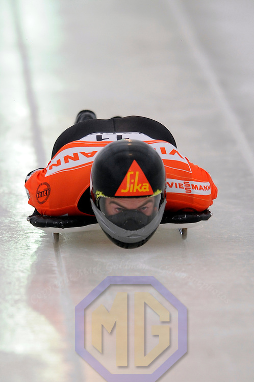 14 December 2007:  Ben Sandford of New Zealand at the FIBT World Cup Men's skeleton competition on December 14, 2007 at the Olympic Sports Complex in Lake Placid, NY.  Sandford finished in seventh place in the race which was won by Eric Bernotas of the United States.
